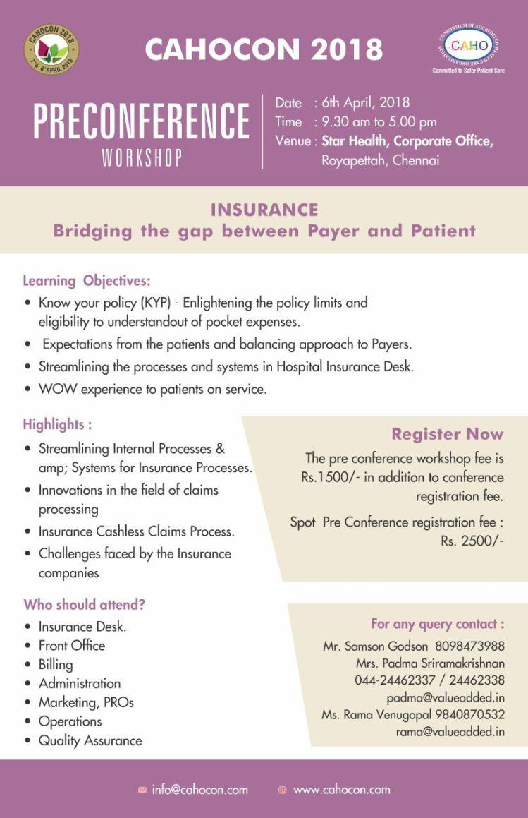 Cahocon-Preconference Workshop- Insurance